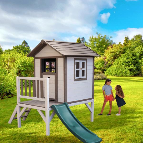 Căsuţă pentru grădină din lemn pentru copii cu tobogan, gri / alb, MAILEN 1