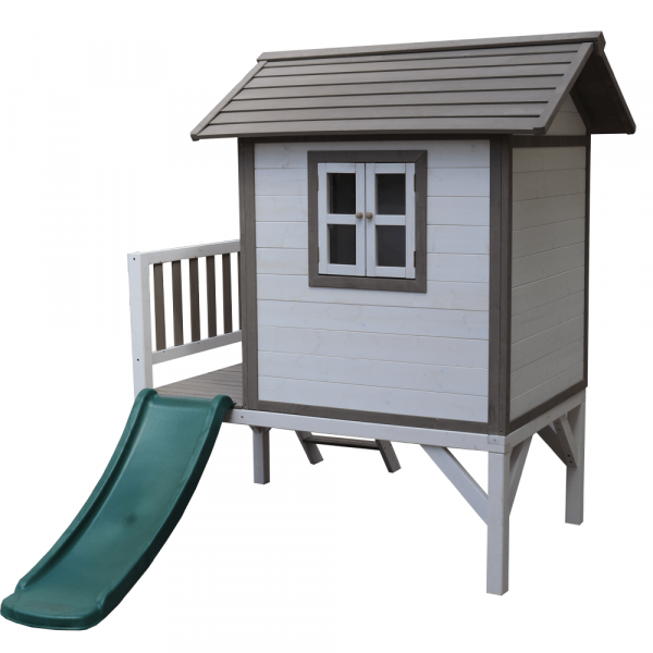 Căsuţă pentru grădină din lemn pentru copii cu tobogan, gri / alb, MAILEN 3