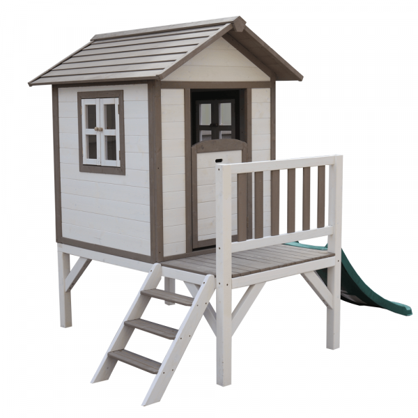 Căsuţă pentru grădină din lemn pentru copii cu tobogan, gri / alb, MAILEN 4