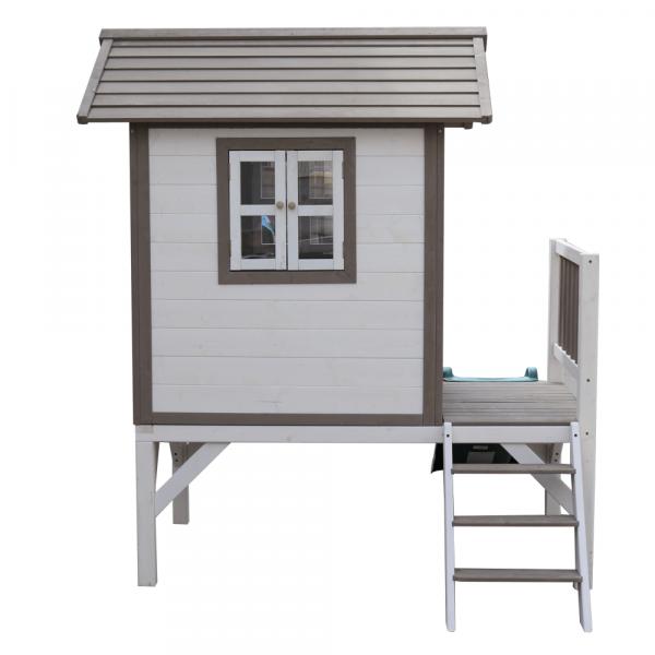 Căsuţă pentru grădină din lemn pentru copii cu tobogan, gri / alb, MAILEN 5
