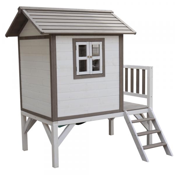 Căsuţă pentru grădină din lemn pentru copii cu tobogan, gri / alb, MAILEN 6