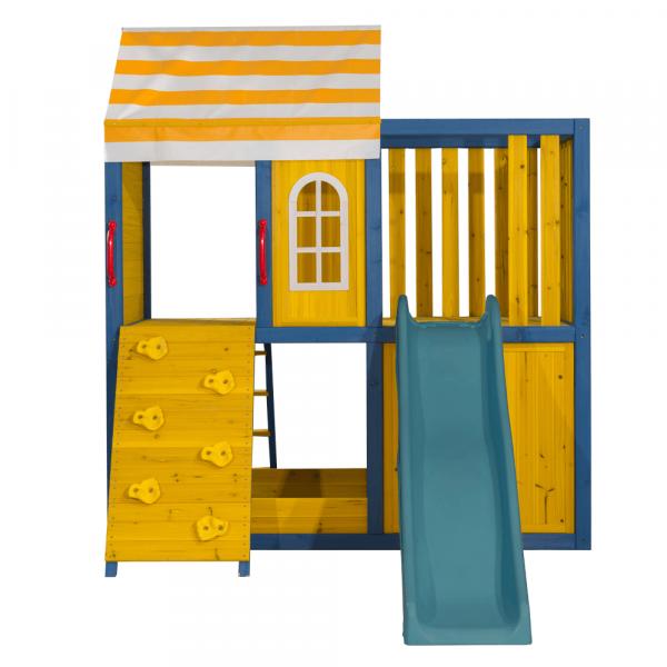 Căsuţă pentru grădină din lemn / loc de joacă pentru copii cu tobogan şi perete de căţărat, MANAS 3