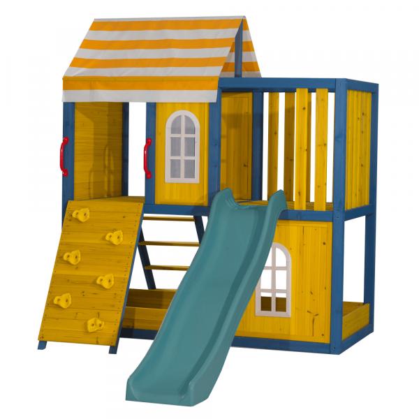 Căsuţă pentru grădină din lemn / loc de joacă pentru copii cu tobogan şi perete de căţărat, MANAS 5