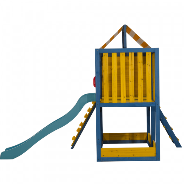 Căsuţă pentru grădină din lemn / loc de joacă pentru copii cu tobogan şi perete de căţărat, MANAS 6