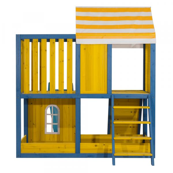 Căsuţă pentru grădină din lemn / loc de joacă pentru copii cu tobogan şi perete de căţărat, MANAS 7