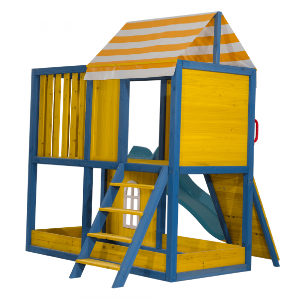 Căsuţă pentru grădină din lemn / loc de joacă pentru copii cu tobogan şi perete de căţărat, MANAS 4