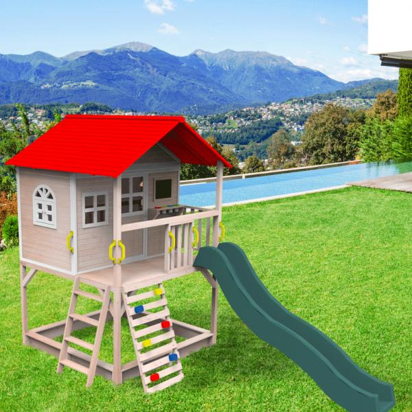 Căsuţă pentru grădină din lemn cu tobogan, loc cu nisip şi zid de căţărat OMAH 1