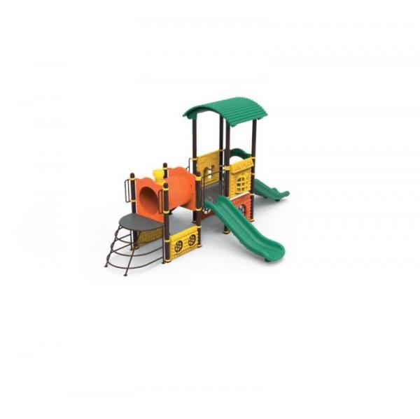 PK.10102/A Tren Echipament loc de joaca exterior parc din metal cu Scara 2 Tobogane Tunel și Cățărătoare 0