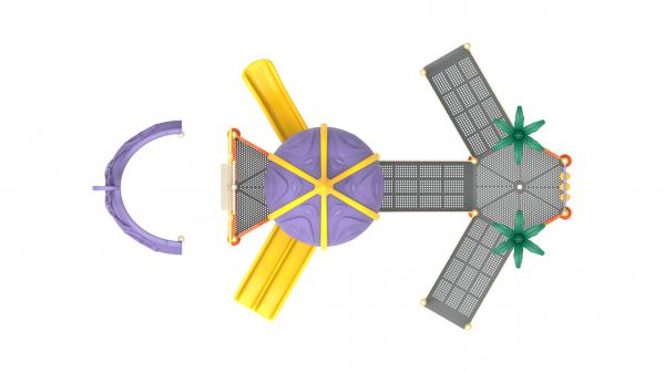 PK.10801/A Complex Echipament loc de joaca dizabilitati exterior parc din metal cu Rampă 2 Tobogane Activități și Cățărătoare [2]