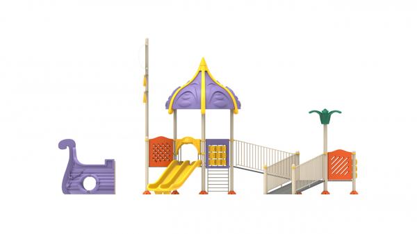 PK.10801/A Complex Echipament loc de joaca dizabilitati exterior parc din metal cu Rampă 2 Tobogane Activități și Cățărătoare [3]