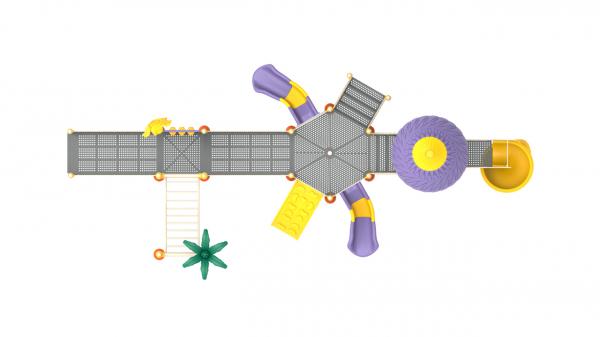 PK.10803/A Complex Echipament loc de joaca dizabilitati exterior parc din metal cu Rampă 3 Tobogane Bancuta Activități și 2 Cățărătoare 3