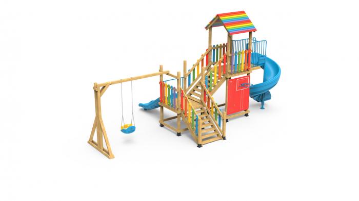 PK.21002/A Casa Echipament loc de joaca exterior parc din lemn cu Scara Cos de Baschet Leagan si 2 Tobogane 1