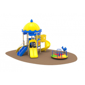 02 Oferta speciala Ansamblu echipamente loc de joaca Scara 2 Tobogane Cataratoare Figurina arc Carusel [1]