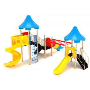 29M Clasic Ansamblu Echipamente loc de joaca exterior parc din metal cu 2 Scari 2 Tobogane si 3 Cataratoare [1]