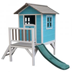 Căsuţă pentru grădină din lemn pentru copii cu tobogan, albastru / gri / alb, MAILEN0