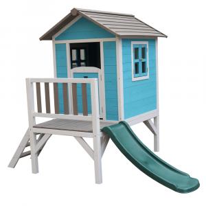 Căsuţă pentru grădină din lemn pentru copii cu tobogan, albastru / gri / alb, MAILEN5