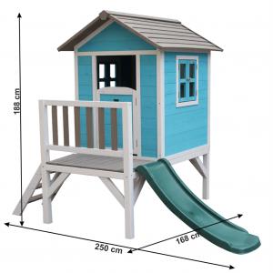 Căsuţă pentru grădină din lemn pentru copii cu tobogan, albastru / gri / alb, MAILEN3