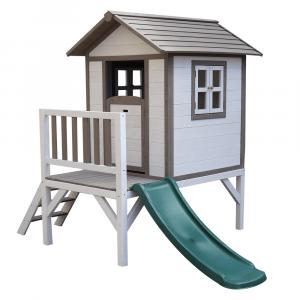 Căsuţă pentru grădină din lemn pentru copii cu tobogan, gri / alb, MAILEN0