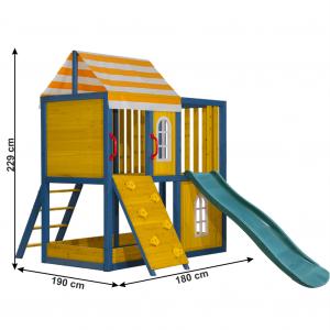 Căsuţă pentru grădină din lemn / loc de joacă pentru copii cu tobogan şi perete de căţărat, MANAS2