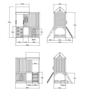 Căsuţă pentru grădină din lemn / loc de joacă pentru copii cu tobogan şi perete de căţărat, MANAS8