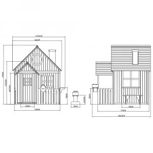 Căsuţă pentru grădină din lemn cu bancă, pridvor şi cutie poştală, BULEN4