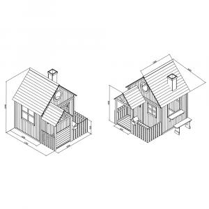 Căsuţă pentru grădină din lemn cu bancă, pridvor şi cutie poştală, BULEN3