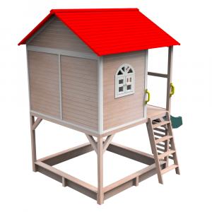 Căsuţă pentru grădină din lemn cu tobogan, loc cu nisip şi zid de căţărat OMAH4