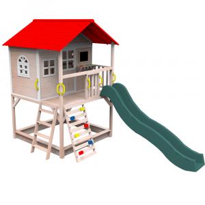 Căsuţă pentru grădină din lemn cu tobogan, loc cu nisip şi zid de căţărat OMAH0