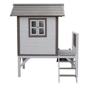 Căsuţă pentru grădină din lemn pentru copii cu tobogan, gri / alb, MAILEN5