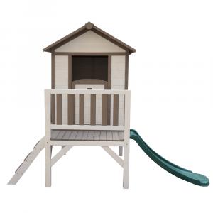 Căsuţă pentru grădină din lemn pentru copii cu tobogan, gri / alb, MAILEN7