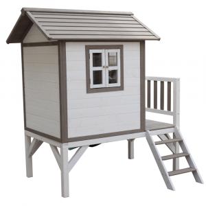 Căsuţă pentru grădină din lemn pentru copii cu tobogan, gri / alb, MAILEN6