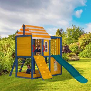 Căsuţă pentru grădină din lemn / loc de joacă pentru copii cu tobogan şi perete de căţărat, MANAS1