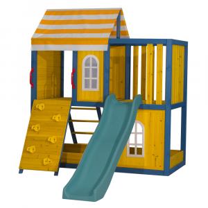 Căsuţă pentru grădină din lemn / loc de joacă pentru copii cu tobogan şi perete de căţărat, MANAS5