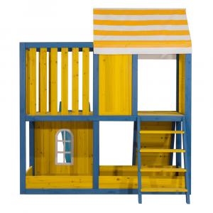 Căsuţă pentru grădină din lemn / loc de joacă pentru copii cu tobogan şi perete de căţărat, MANAS7