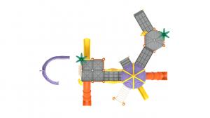 PK.10802/A Complex Echipament loc de joaca dizabilitati exterior parc din metal cu Rampă 4 Tobogane Activități și 3 Cățărătoare [3]