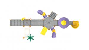 PK.10803/A Complex Echipament loc de joaca dizabilitati exterior parc din metal cu Rampă 3 Tobogane Bancuta Activități și 2 Cățărătoare3
