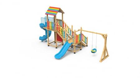 PK.21002/A Casa Echipament loc de joaca exterior parc din lemn cu Scara Cos de Baschet Leagan si 2 Tobogane0