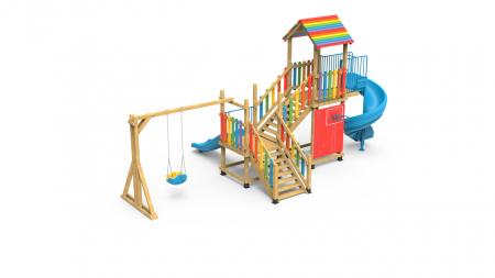 PK.21002/A Casa Echipament loc de joaca exterior parc din lemn cu Scara Cos de Baschet Leagan si 2 Tobogane1