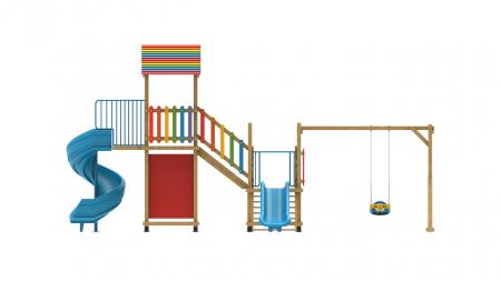 PK.21002/A Casa Echipament loc de joaca exterior parc din lemn cu Scara Cos de Baschet Leagan si 2 Tobogane3