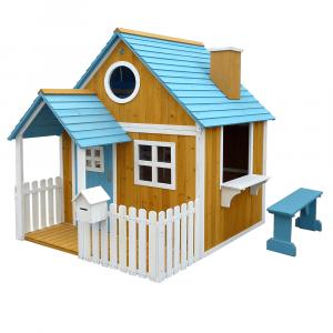 Căsuţă pentru grădină din lemn cu bancă, pridvor şi cutie poştală, BULEN0
