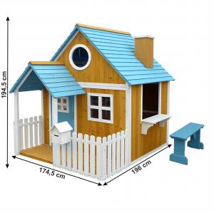 Căsuţă pentru grădină din lemn cu bancă, pridvor şi cutie poştală, BULEN2