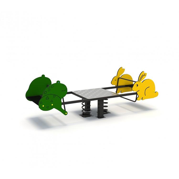 119oe Balansoar Element Loc De Joaca Figurine Animale Pe Arc Cu 4 Locuri