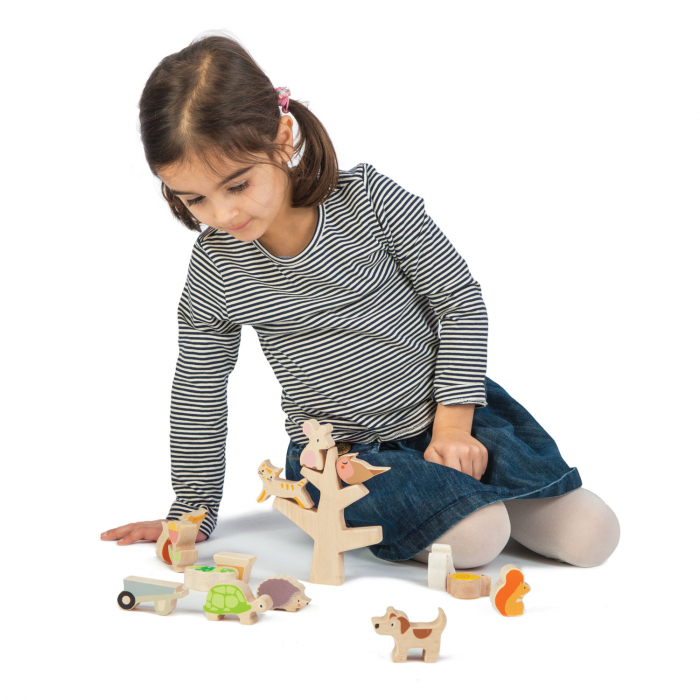 Animăluțe în copac, din lemn premium - Stacking Garden Friends - 16 piese - Tender Leaf Toys 1