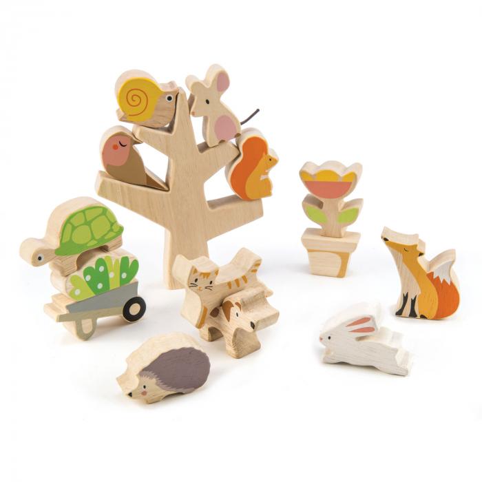 Animăluțe în copac, din lemn premium - Stacking Garden Friends - 16 piese - Tender Leaf Toys 0