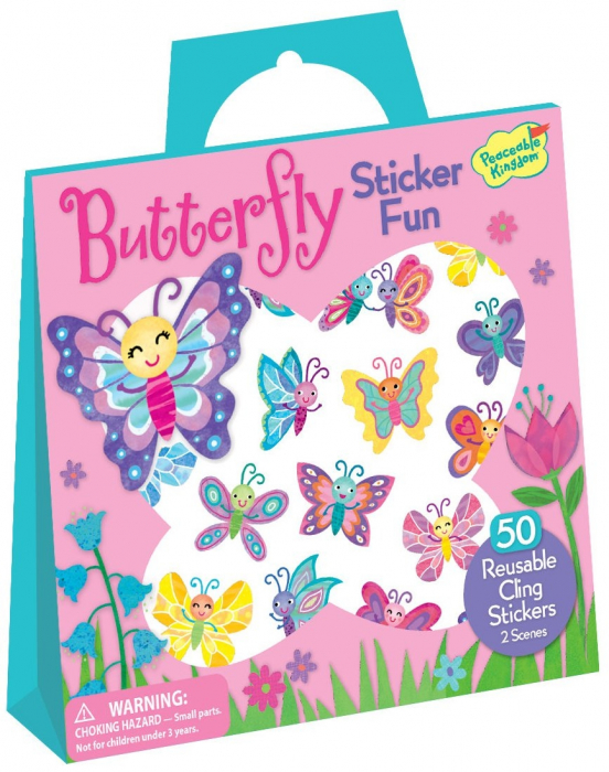Butterfly Reusable Sticker Tote - Fluturi colorați, gentuță cu abțibilduri reutilizabile 0