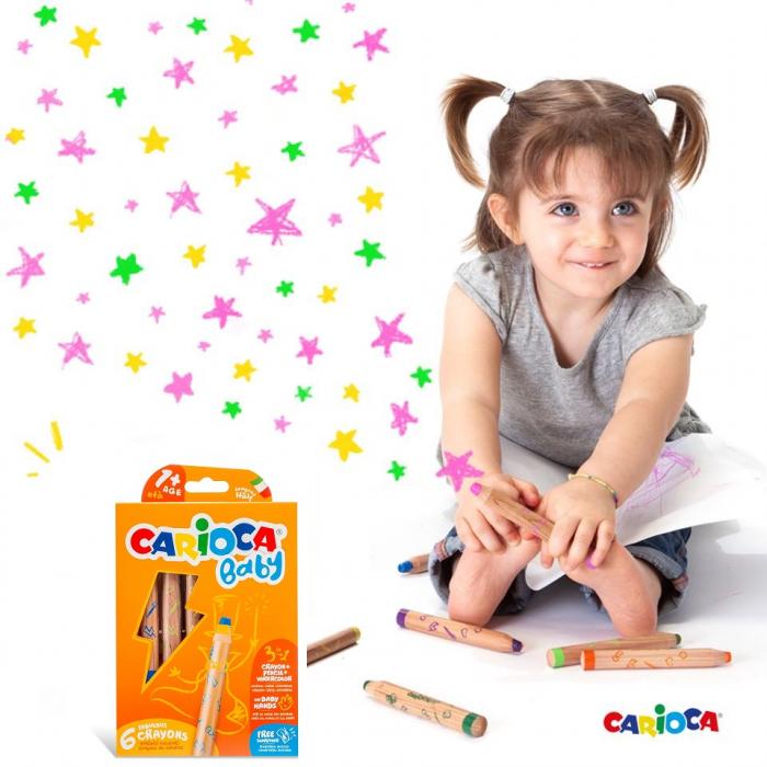 Creioane color 3 in 1 Carioca Baby 1an+ 6 culori / set. [1]