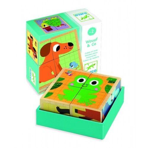 Cuburi din lemn Animale Djeco 0