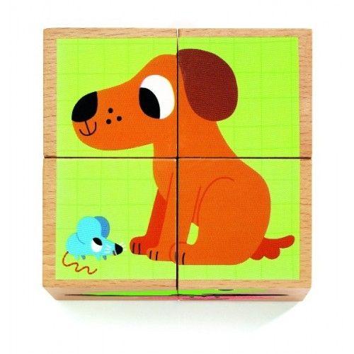 Cuburi din lemn Animale Djeco 1