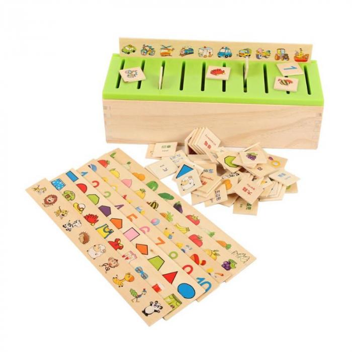 Joc asociere şi sortare - Cutie Montessori cu 88 piese din lemn 0