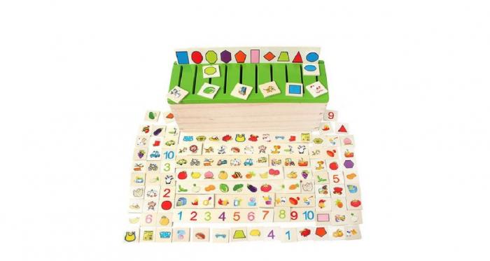 Joc asociere şi sortare - Cutie Montessori cu 88 piese din lemn 2